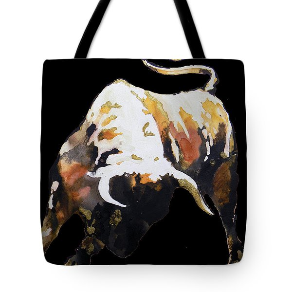 Fight Bull In Black Tote Bag