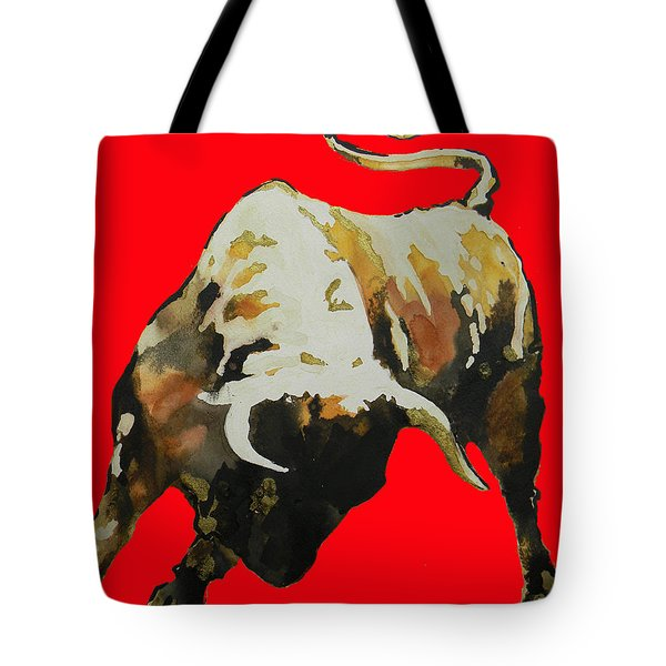 Fight Bull In Red Tote Bag