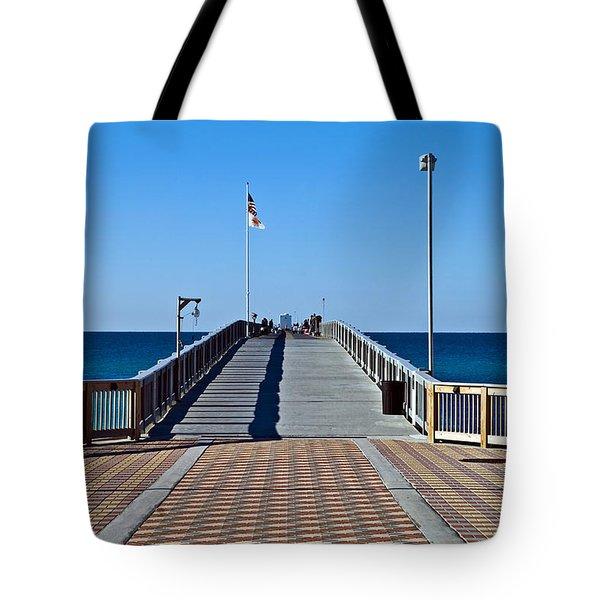 Fishing Pier Tote Bag by Susan Leggett
