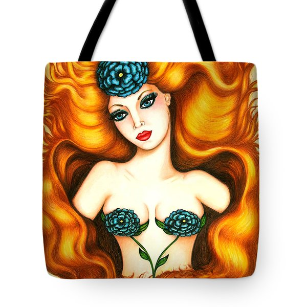 Flower In The Blaze Tote Bag