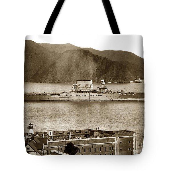 U. S. S. Lexington Cv-2 Fort Point Golden Gate San Francisco Bay California 1928 Tote Bag