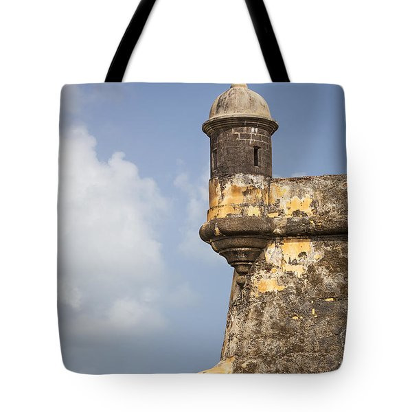 Tote Bag featuring the photograph  Fortified Walls And Sentry Box Of Fort San Felipe Del Morro by Bryan Mullennix