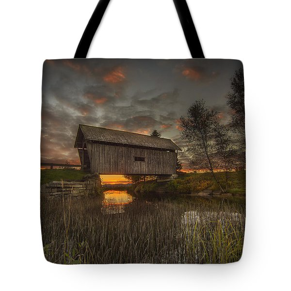 Foster Covered Bridge Sunset Tote Bag