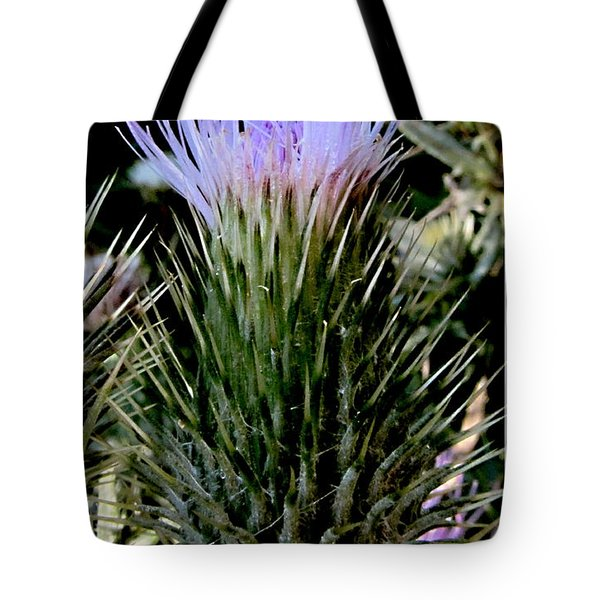 Glowing Purple Thisle Flower Tote Bag