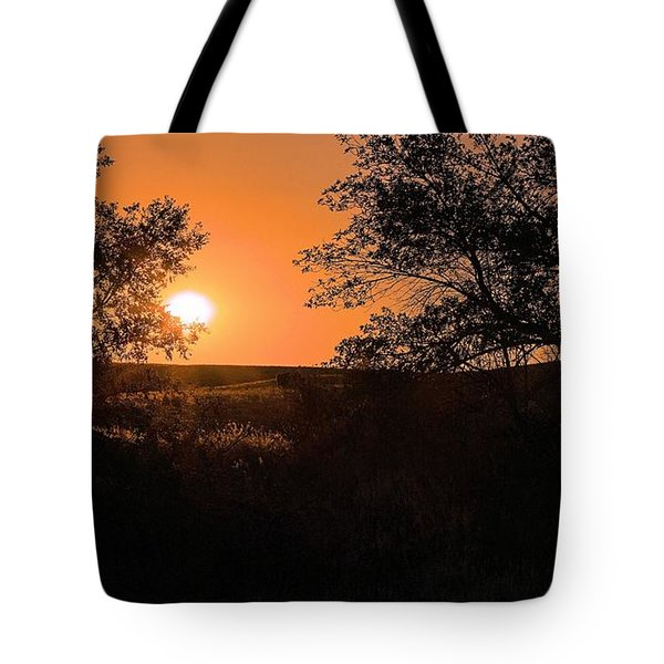 Hayfield At Night Tote Bag