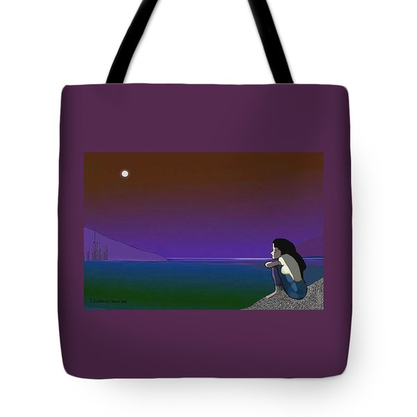 075 - Sitting At The Edge Of The Bay Tote Bag by Irmgard Schoendorf Welch