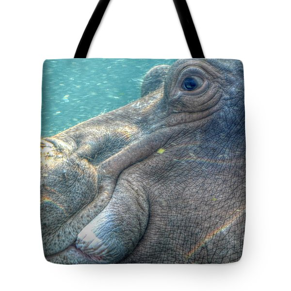 Hippopotamus Smiling Underwater  Tote Bag by Peggy Franz