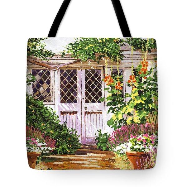 Hollyhock Gardens Tote Bag by David Lloyd Glover