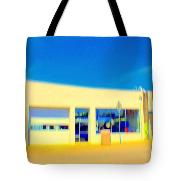Tote Bag featuring the mixed media   Hopper Garage by Terence Morrissey