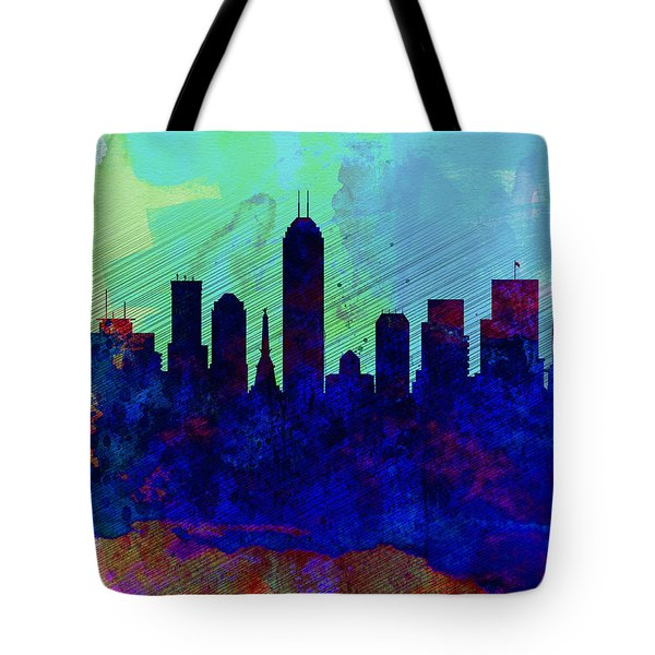 IIndianapolis Watercolor Skyline Tote Bag