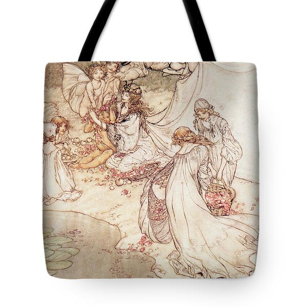 Illustration For A Fairy Tale Fairy Queen Covering A Child With Blossom Tote Bag