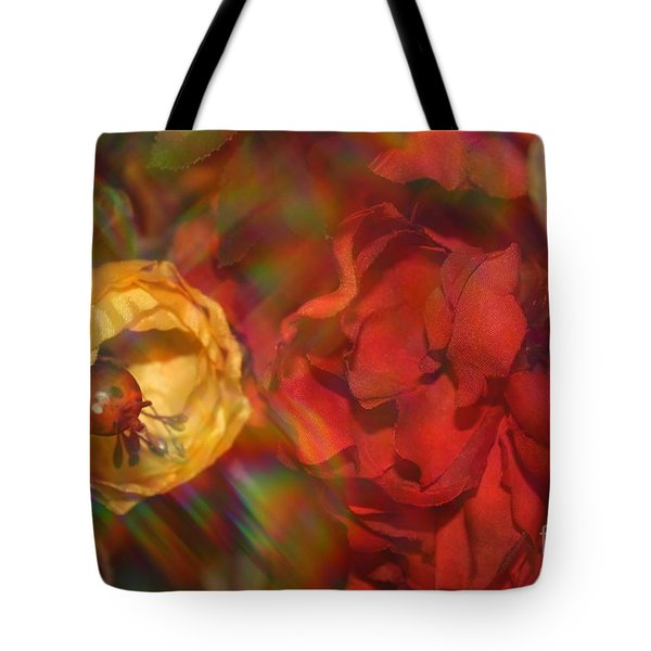 Tote Bag featuring the photograph  Impressionistic Bouquet Of Red Flowers by Dora Sofia Caputo Photographic Art and Design