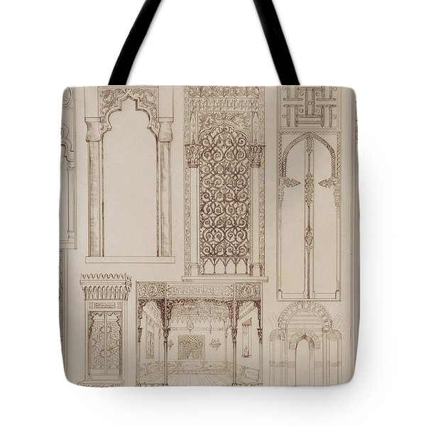 Islamic And Moorish Design For Shutters And Divans Tote Bag by Jean Francois Albanis de Beaumont