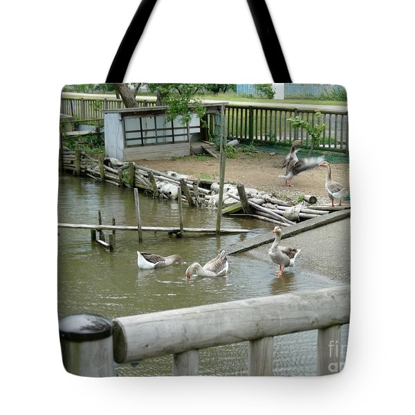Japanese Geese Tote Bag by Evgeny Pisarev