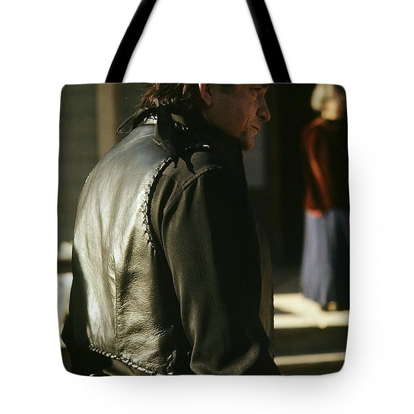 Tote Bag featuring the photograph  Johnny Cash About To Draw On Kirk Douglas Old Tucson Arizona 1971 by David Lee Guss