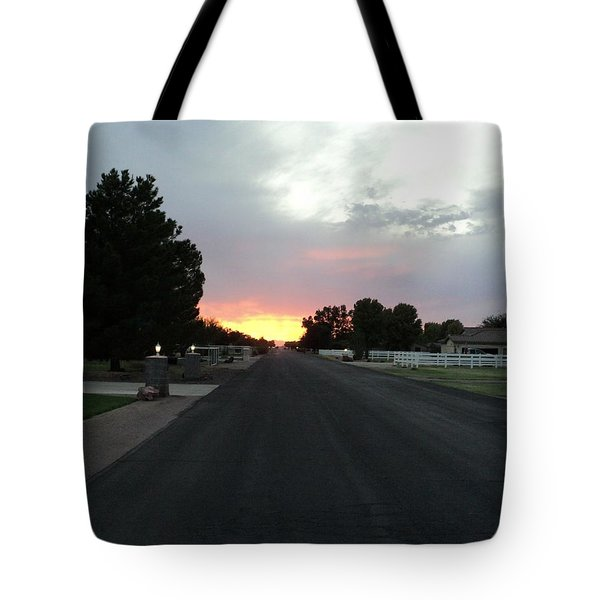 Tote Bag featuring the photograph  Journey Into The Sunset by Carla Carson