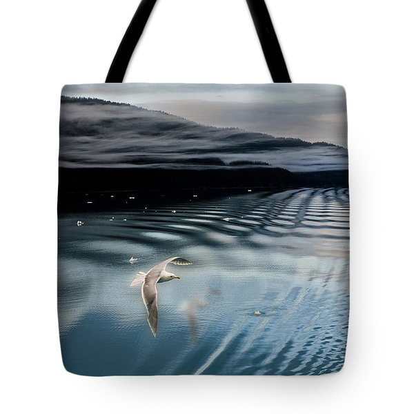 Journey With A Sea Gull Tote Bag by Gary Warnimont
