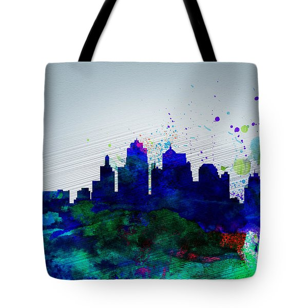 Kansas City Watercolor Skyline Tote Bag