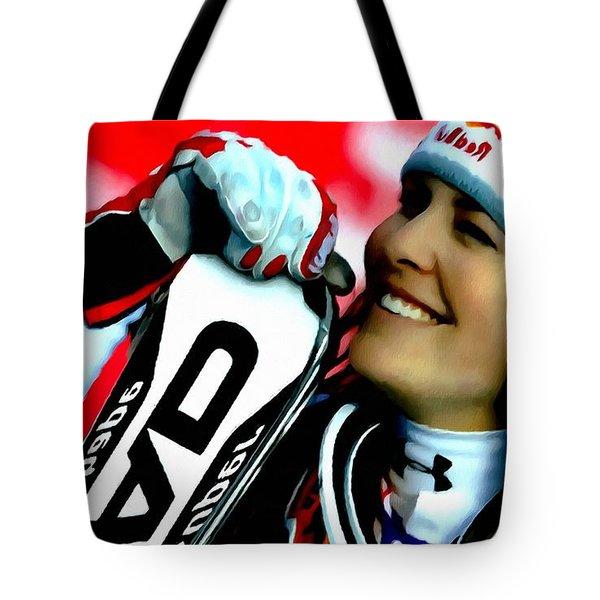 Lindsey Vonn Skiing Tote Bag by Lanjee Chee