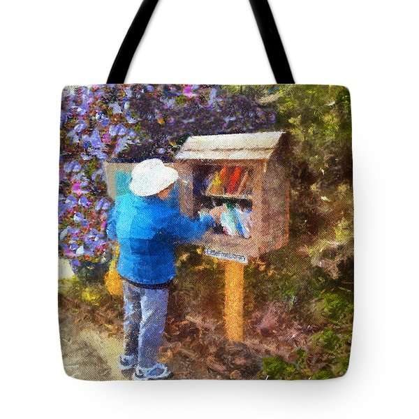 Tote Bag featuring the painting  Alameda  Little Free Library by Linda Weinstock