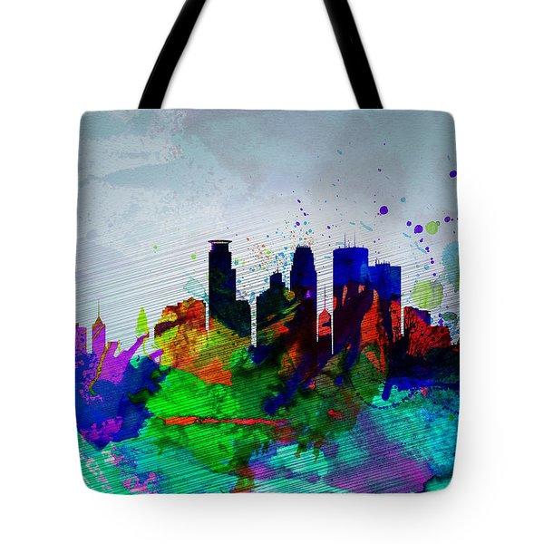 Minneapolis Watercolor Skyline Tote Bag