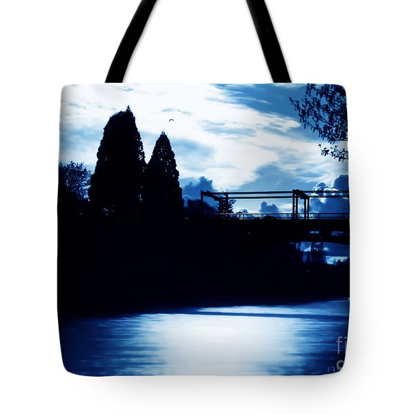 Tote Bag featuring the photograph  Montlake Bridge In Seattle Washington At Dusk by Eddie Eastwood