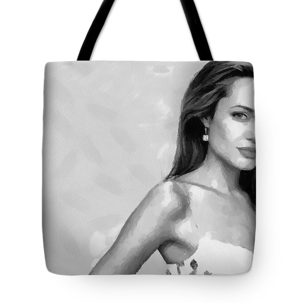 Movie Star Angelina Jolie Black And White Tote Bag by Georgi Dimitrov