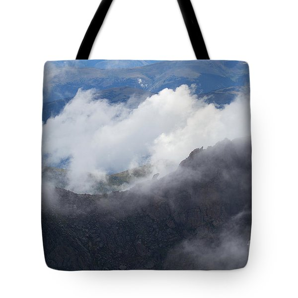 Tote Bag featuring the photograph  Mt. Bierstadt In The Clouds by Jim Garrison