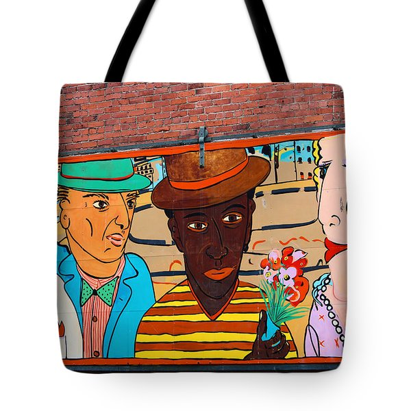 Mural Wall Art In Seattle Tote Bag by Kym Backland