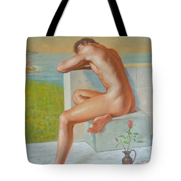 Original Classic Oil Painting Man Body Art  Male Nude And Vase #16-2-4-09 Tote Bag