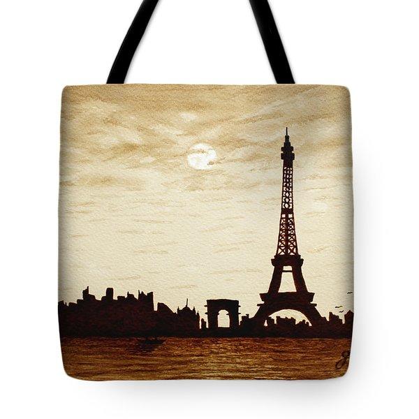 Paris Under Moonlight Silhouette France Tote Bag by Georgeta  Blanaru
