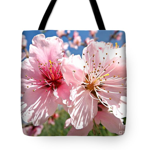 Peach Blossom Tote Bag by Clare Bevan