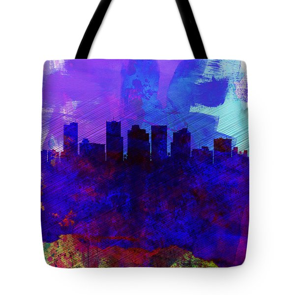 Phoenix Watercolor Skyline 1 Tote Bag by Naxart Studio
