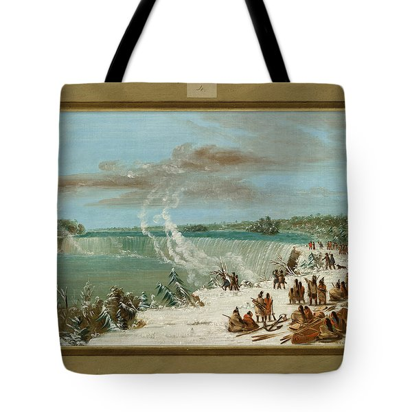 Portage Around The Falls Of Niagara At Table Rock Tote Bag by George Catlin