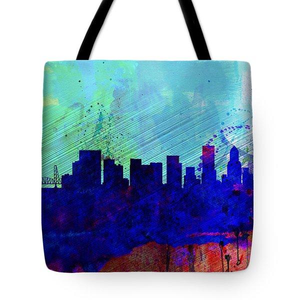 Portland Watercolor Skyline Tote Bag