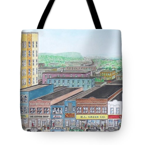 Portsmouth Ohio Dime Store Row 4th To 5th Tote Bag by Frank Hunter