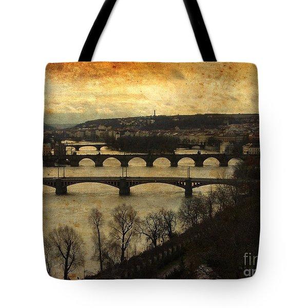 Vintage Prague Vltava River 1 Tote Bag