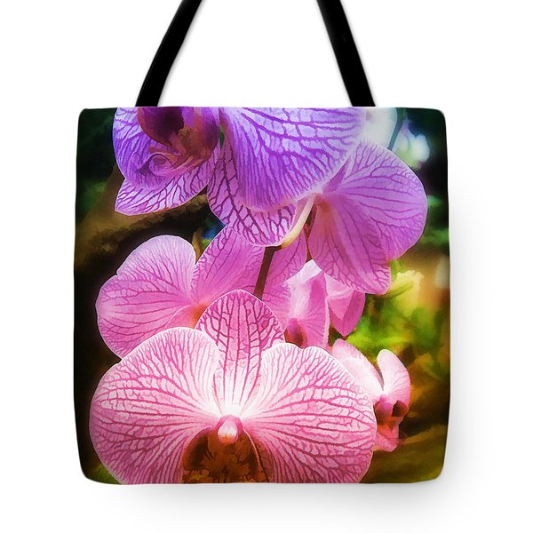Tote Bag featuring the photograph  Rainbow Orchids by Elaine Manley
