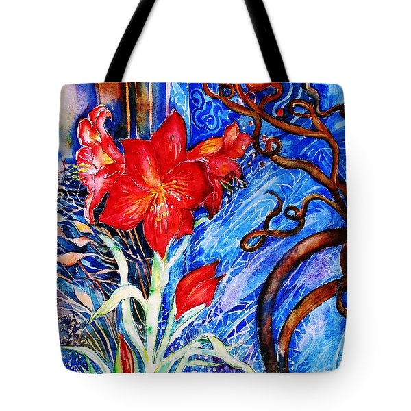 Tote Bag featuring the painting  Red Amaryllis  by Trudi Doyle