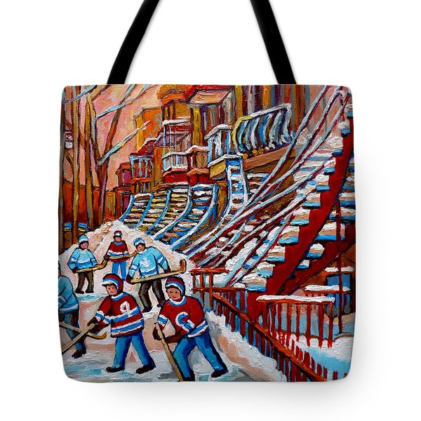 Red Staircases -paintings Of Verdun Montreal City Scene - Hockey Art - Winter Scenes  Tote Bag by Carole Spandau
