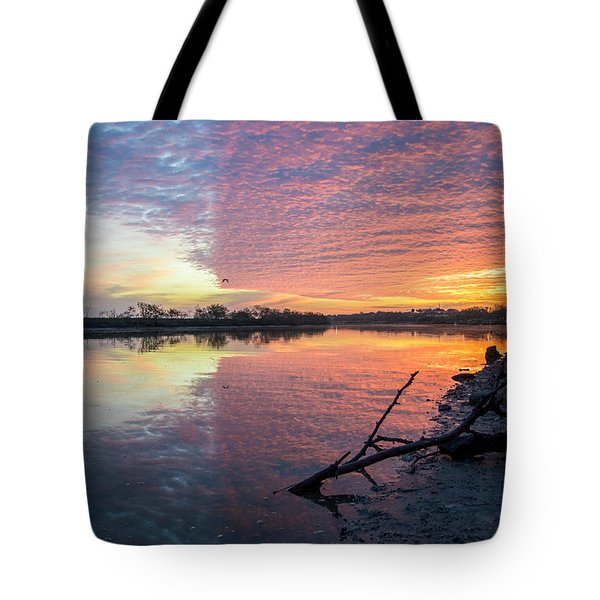 River Glows At Sunrise Tote Bag