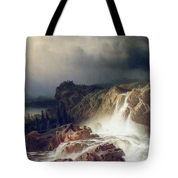 Rocky Landscape With Waterfall In Smaland Tote Bag by Marcus Larson