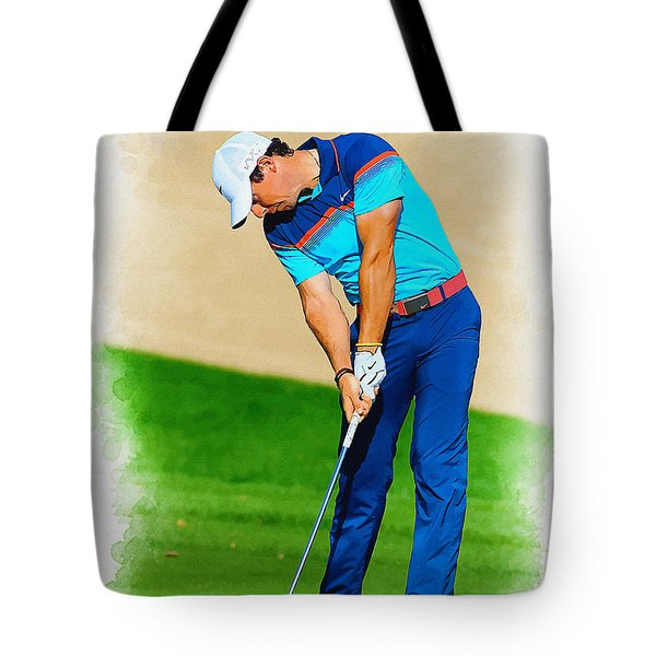 Rory Mcilroy Plays His Second Shot On The Par 4 Tote Bag