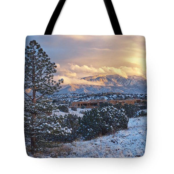Sandia Mountains With Snow At Sunset Tote Bag