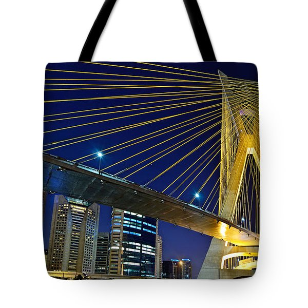 Sao Paulo's Iconic Cable-stayed Bridge  Tote Bag