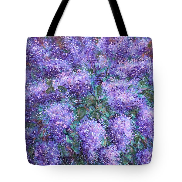 Tote Bag featuring the painting  Scented Lilacs Bouquet by Natalie Holland