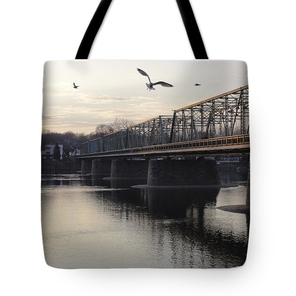 Gulls At The Bridge In January Tote Bag