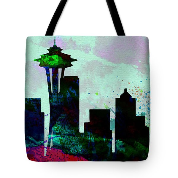 Seattle City Skyline Tote Bag by Naxart Studio