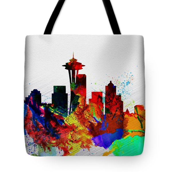 Seattle Watercolor Skyline 2 Tote Bag by Naxart Studio