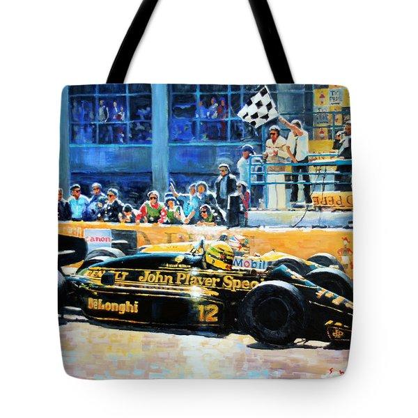 Senna Vs Mansell F1 Spanish Gp 1986 Tote Bag
